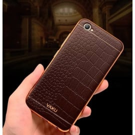 VAKU ® VIVO Y55L  European Leather Stitched Gold Electroplated Soft TPU Back Cover