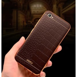 VAKU ® VIVO Y66 European Leather Stitched Gold Electroplated Soft TPU Back Cover