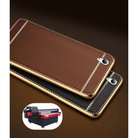 Vaku ® Oppo F1 Plus Leather Stitched Gold Electroplated Soft TPU Back Cover