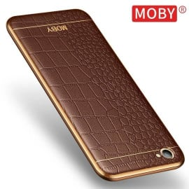 VAKU ® VIVO V5 / V5S European Leather Stitched Gold Electroplated Soft TPU Back Cover