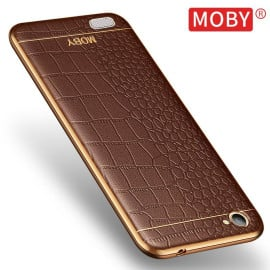 Vaku ® Oppo Neo 7 European Leather Stitched Gold Electroplated Soft TPU Back Cover