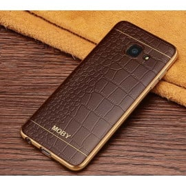 VAKU ® Samsung J7 Prime European Leather Stiched Gold Electroplated Soft TPU Back Cover