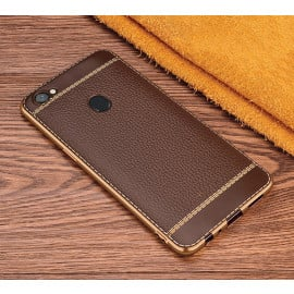 Vaku ® Oppo F5 Leather Stitched Gold Electroplated Soft TPU Back Cover