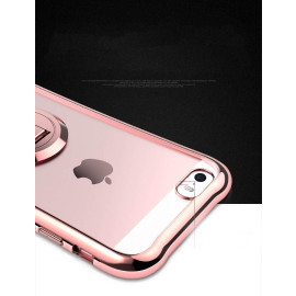 MeePhone ® For Apple iPhone 5 / 5S / SE Metal Electroplated Bumper with FullView Transparent Finish + inbuilt Kickstand Back Cover