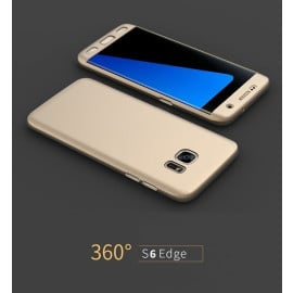 i-Paky ® Samsung Galaxy S6 Edge 360 Full Protection Metallic Finish 2-in-1 Ultra-thin Slim Front Case + Back Cover