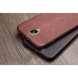Vaku ® OnePlus 3 / 3T Lexza Series Double Stitch Leather Shell with Metallic Logo Display Back Cover