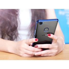Vaku ® Vivo V7 CAUSEWAY Series Electroplated Shine Bumper Finish Full-View Display + Ultra-thin Transparent Back Cover