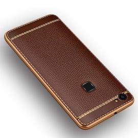 Vaku ® Vivo V7 Plus Leather Stitched Gold Electroplated Soft TPU Back Cover