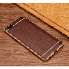 Vaku ® OnePlus 5 Leather Stitched Gold Electroplated Soft TPU Back Cover