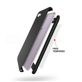 Vaku ® Vivo Y69 360 Full Protection Metallic Finish 3-in-1 Ultra-thin Slim Front Case + Tempered + Back Cover