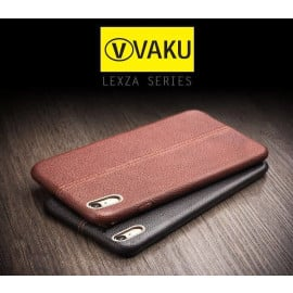 Vaku ® Oppo A37 Lexza Series Double Stitch Leather Shell with Metallic Logo Display Back Cover