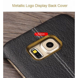 Vorson ® Samsung Galaxy S7 Lexza Series Double Stitch Leather Shell with Metallic Camera Protection Back Cover