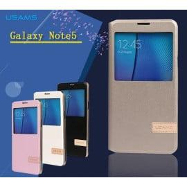 Usams ® Samsung Galaxy Note 5 Emug Series Smart Awakening Folio + inbuilt Stand Leather Flip Cover