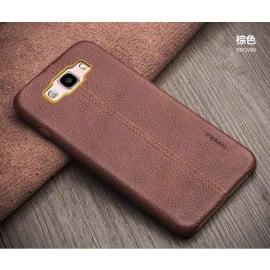 Vaku ® Samsung Galaxy J5 (2016) Lexza Series Double Stitch Leather Shell with Metallic Logo Display Back Cover