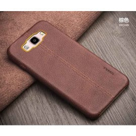 Vaku ® Samsung Galaxy J2 (2016) Lexza Series Double Stitch Leather Shell with Metallic Logo Display Back Cover