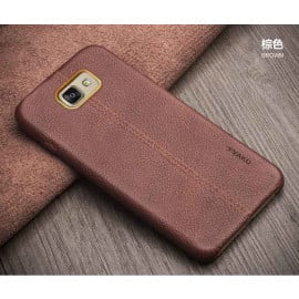Vaku ® Samsung Galaxy J5 (2016) Lexza Series Double Stitch Leather Shell with Metallic Camera Protection Back Cover