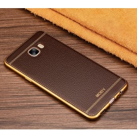 Vaku ® Samsung Galaxy C9 Pro Leather Stitched Gold Electroplated Soft TPU Back Cover