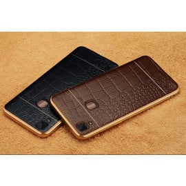 VAKU ® VIVO V3 European Leather Stiched Gold Electroplated Soft TPU Back Cover