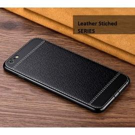 VAKU ® VIVO V5 / V5s Leather Stiched Gold Electroplated Soft TPU Back Cover