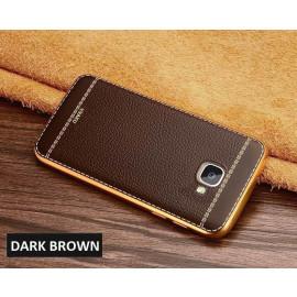 VAKU ® Samsung J7 Prime Leather Stitched Gold Electroplated Soft TPU Back Cover