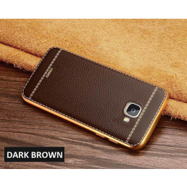 VAKU ® Samsung Galaxy A5 (2016) Leather Stiched Gold Electroplated Soft TPU Back Cover