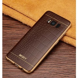 VAKU ® Samsung S8 Plus European Leather Stiched Gold Electroplated Soft TPU Back Cover