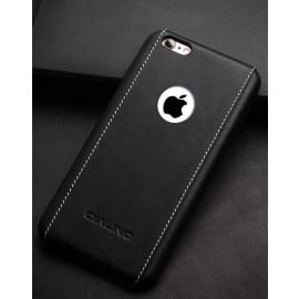 Qualino ® Apple iPhone 6 / 6S king Series with ring 4 Stitch Leather Shell with Metallic Logo Display Back Cover