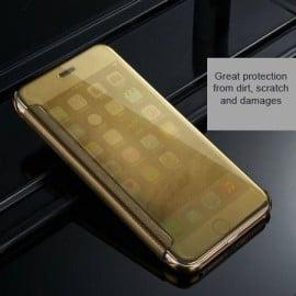 Vaku ® Apple iPhone 6 / 6S Mate Smart Awakening Mirror Folio Metal Electroplated PC Flip Cover