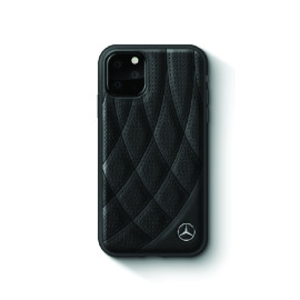 Mercedes Benz ® Apple iPhone 11 Pro Bow Line Quilted Perforated Leather Back Cover