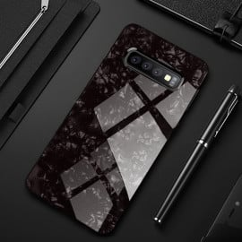 VAKU ® Samsung Galaxy S10 Glossy Marble with 9H hardness tempered glass overlay Back Cover