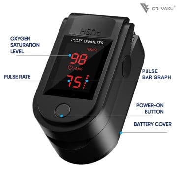 Vaku Luxos ® Pulse Oximeter Fingertip, Multipurpose Digital Monitoring Pulse Meter Rate & SpO2 with LED Digital Display [Battery included] - Black