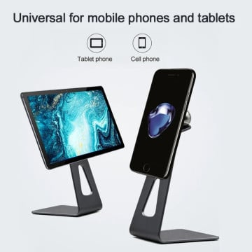 eller santé ® Lazy Mobile Stand for Desk, Angle Height Adjustable Cell Phone Stand, Aluminum Metal Phone Holder Compatible with All Mobile i-Pad, Tablet -Black