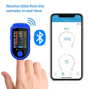 DR VAKU ® Fingertip Pulse Oximeter with Bluetooth Connectivity & SpO2 Blood Oxygen Saturation Monitor, Four Directional LED Display Phone Control with Batteries