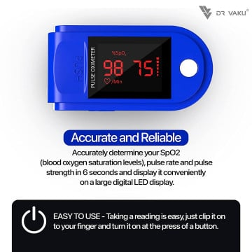 Vaku Luxos ® Pulse Oximeter Fingertip, Multipurpose Digital Monitoring Pulse Meter Rate & SpO2 with LED Digital Display [Battery included] - Blue