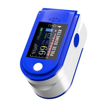 eller santé ® Pulse Oximeter, SPO2 Blood Oxygen Saturation, Pulse Rate (PR) with Four Color TFT Digital Display [Battery Included] -Blue